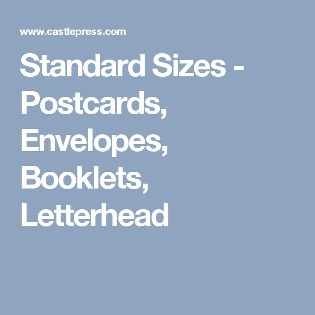 Standard Sizes - Postcards, Envelopes, Booklets, Letterhead