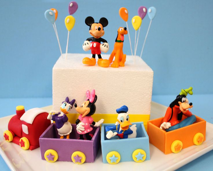 Fondant Mickey Inspired Train Cake Toppers Kit for Train Party, Train birthday cake, Railroad, Train Toppers, Mickey Mouse Clubhouse by SugarAndStripesCo on Etsy https://www.etsy.com/listing/184564344/fondant-mickey-inspired-train-cake