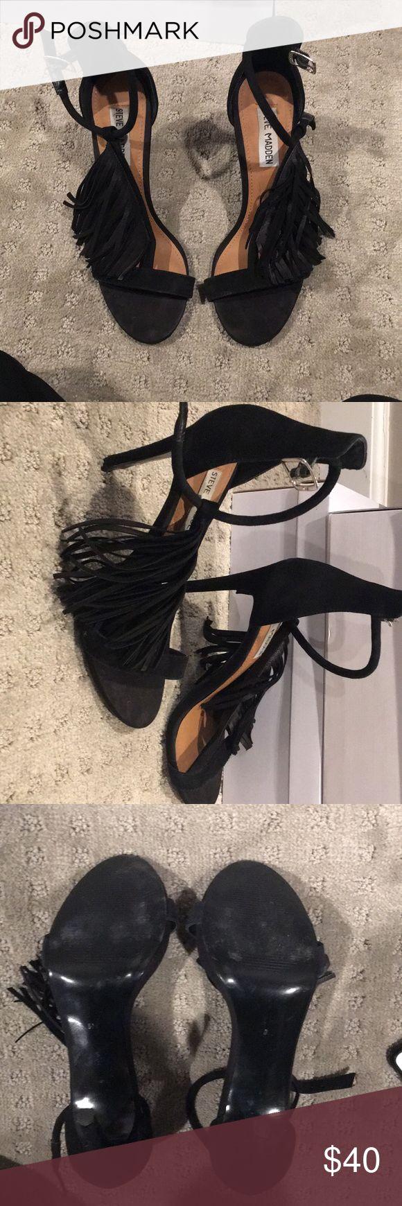 Steve Madden Fringe Heels Fringe black heels by Steve Madden only worn a handful of times, super festive! Steve Madden Shoes Heels