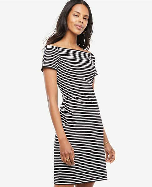 Primary Image of Petite Stripe Off The Shoulder Sheath Dress