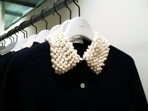 black and white: Pearlcollar, Pearls Collars, Style, Clothing, Peter Pan Collars, Beads Collars, Fashion Blog, Closet, High Waist Shorts