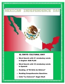 """This wonderful """"El Grito """"Cultural unit is the perfect way to celebrate Sept 16. Mexican Independence Day in your classroom.The unit addresses the history of the Father Hidalgo in Dolores and his legendary """"Grito de Dolores"""" that started the Mexican Revolution."""