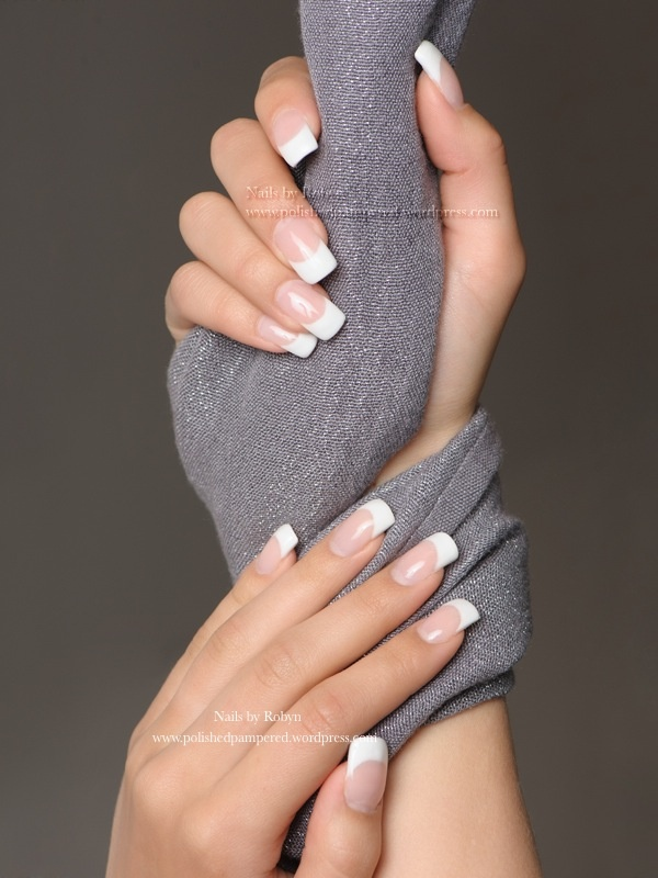 Classic French gel nails.