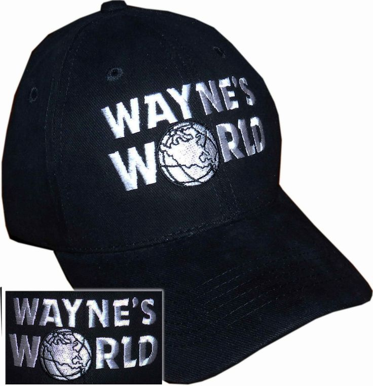 Waynes World Hat Garth Wayne Campbell Wayne's Halloween costume embroidered logo black cap by NiftyShirts on Etsy