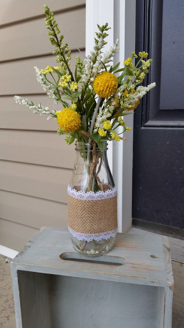 Flowers in milk jar Wild flower yellow flowers, wedding centerpiece, country flowers, country decor  and by KelseysHomeDecor