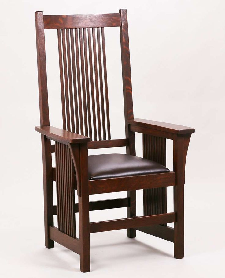 Gustav Stickley tallback spindled armchair.  Unsigned.  Very nicely refinished.