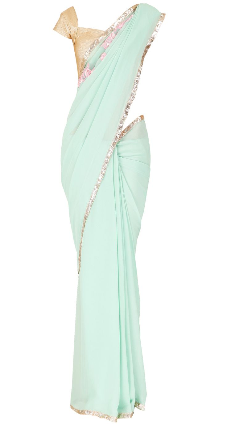 Sea foam sari with pink embellishments