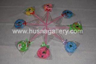 TC 01 Lollipop Bintang Towel Cake, souvenir pernikahan, ulang tahun murah unik