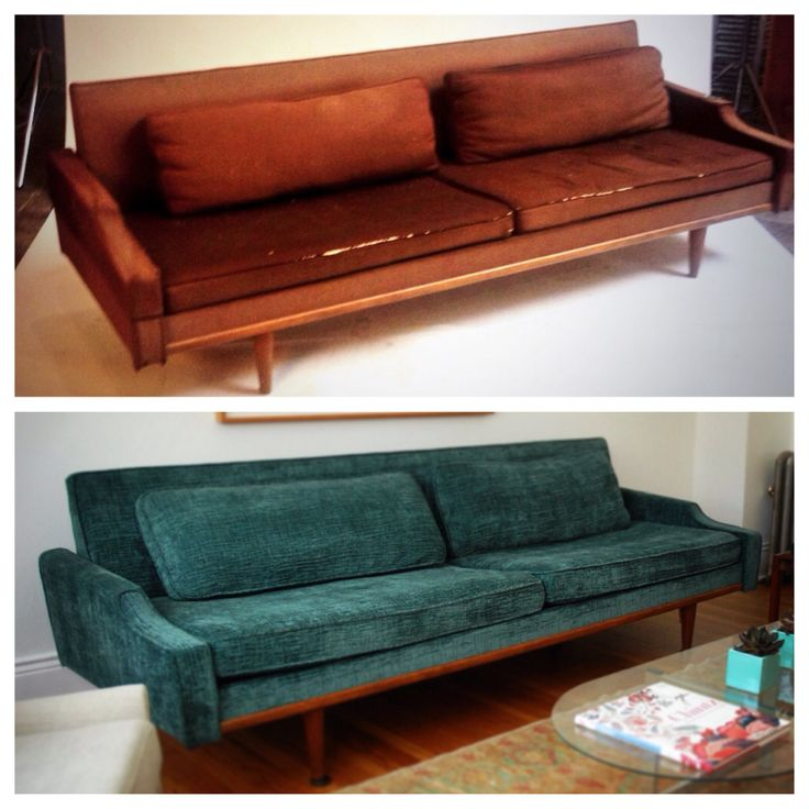 Before and after  #midcentury sofa