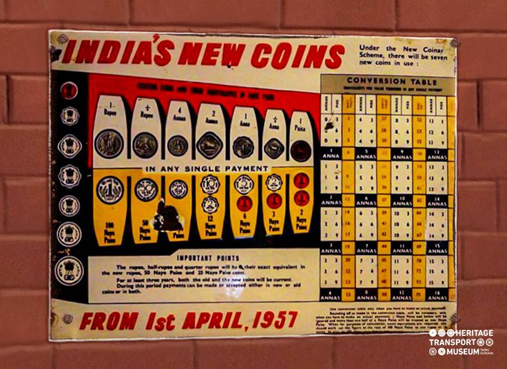 Enamel Sign Board presenting the issue of new coins during 1957!  #heritagetransportmuseum #incredibleindia #coincollector #vintagecollection #gurugram