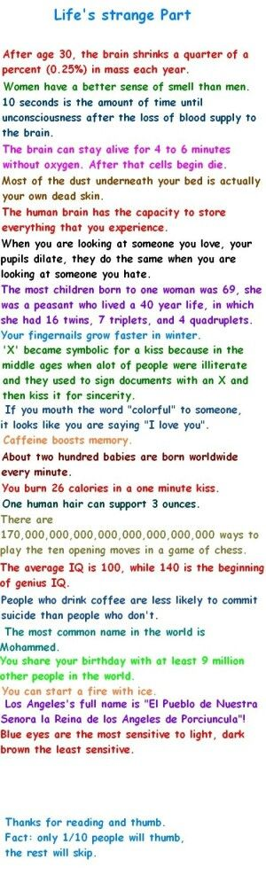 Unbelievable Facts. The oxygen/brain ones are perfect for my story.