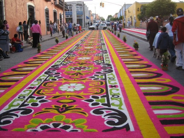 """street """"tapestries"""" made with flower petals and colored sawdust at the annual fair in Huamantla, Tlaxcala, Mexico"""