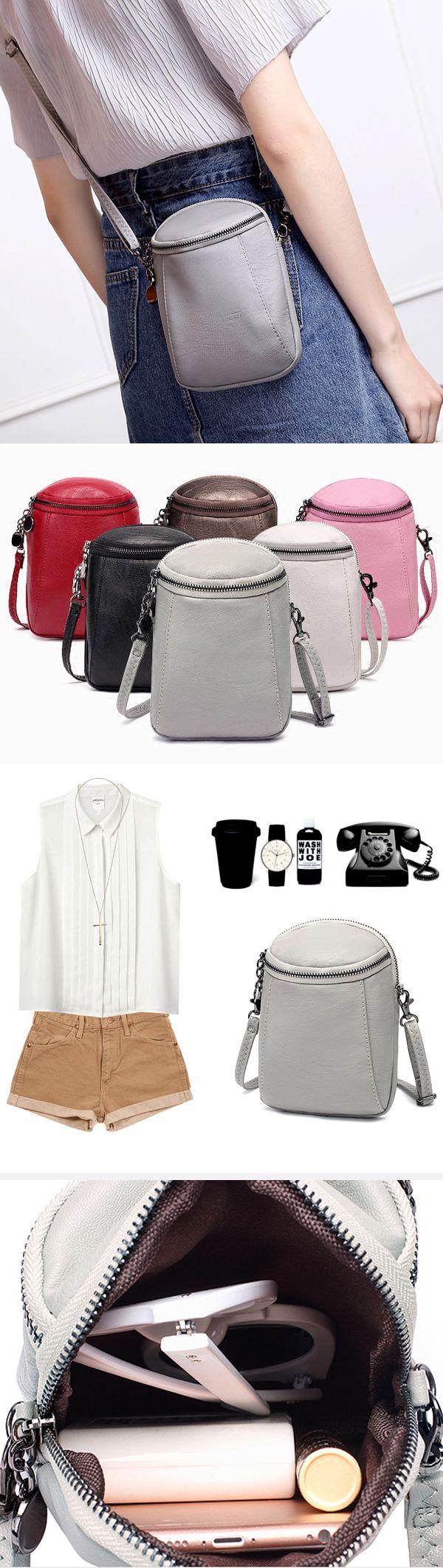 [$ 10.47]   Woman Round Little Phone Bag Casual PU Crossbody Bag Bucket Bag Vintage Bag