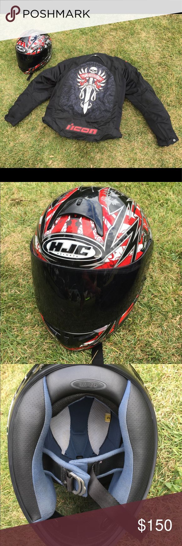 Motorcycle Jacket and Helmet HJC Helmet Size Medium with Icon Redeemer Size Medium ---- $50 for Helmet ---- $150 for Jacket ICON Other