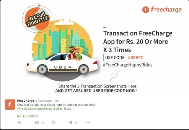 Freecharge assured 100% cashback and win Free Uber Ride | Uber Promo Code