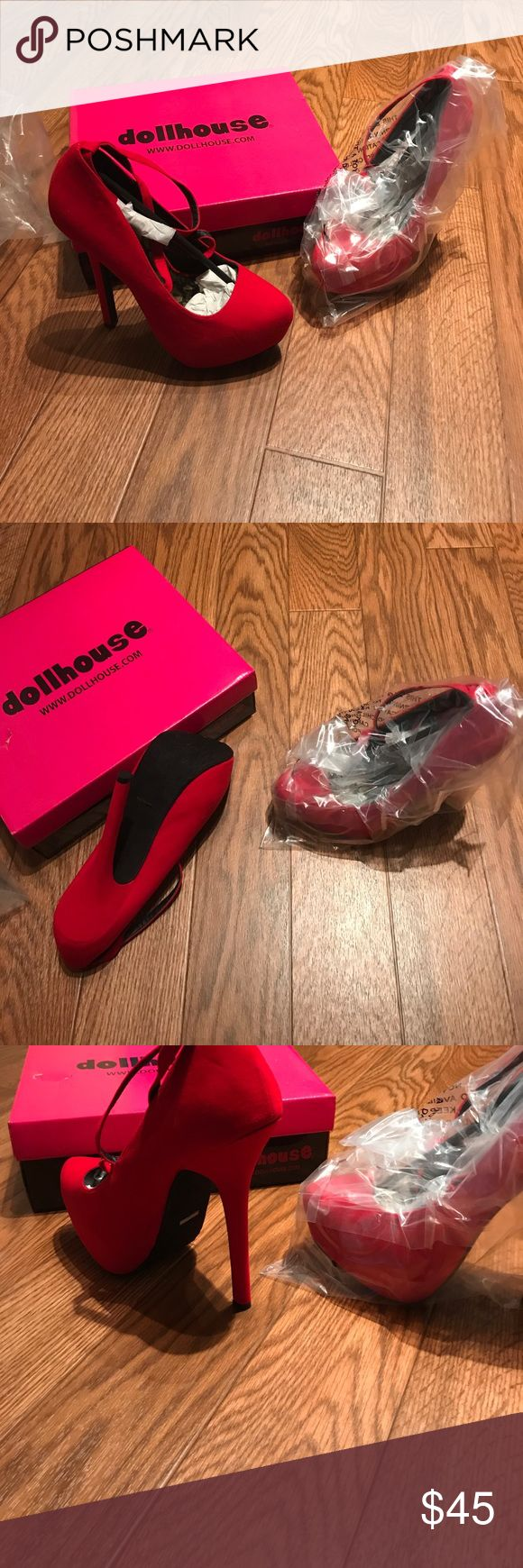 New Dollhouse red high heel pumps with box size 9 New with box dollhouse red high heels . With Poshmark fees and not covering shipping for shoes would like to ship without box or will cost more. Marked size 9 ... questions welcomed Dollhouse Shoes Heels