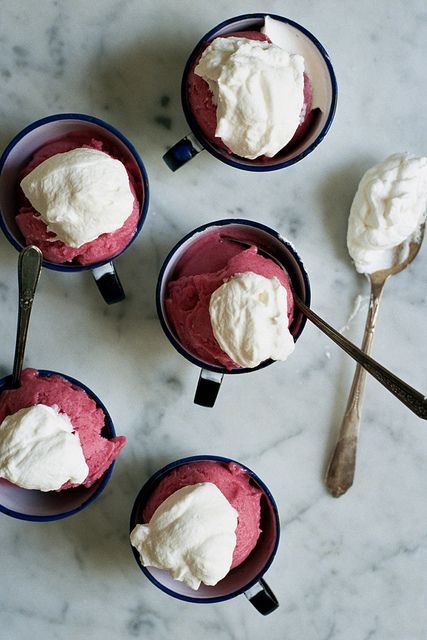 rhubarb and gin sorbet with rose cream @rachel ;)