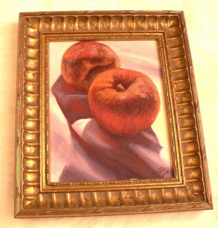 Sesillie Girelli Original Painting Art Peaches Apples Gold Framed Rare