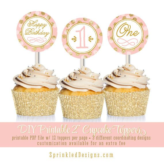 Blush Pink Gold Glitter Printable First by SprinkledDesign on Etsy