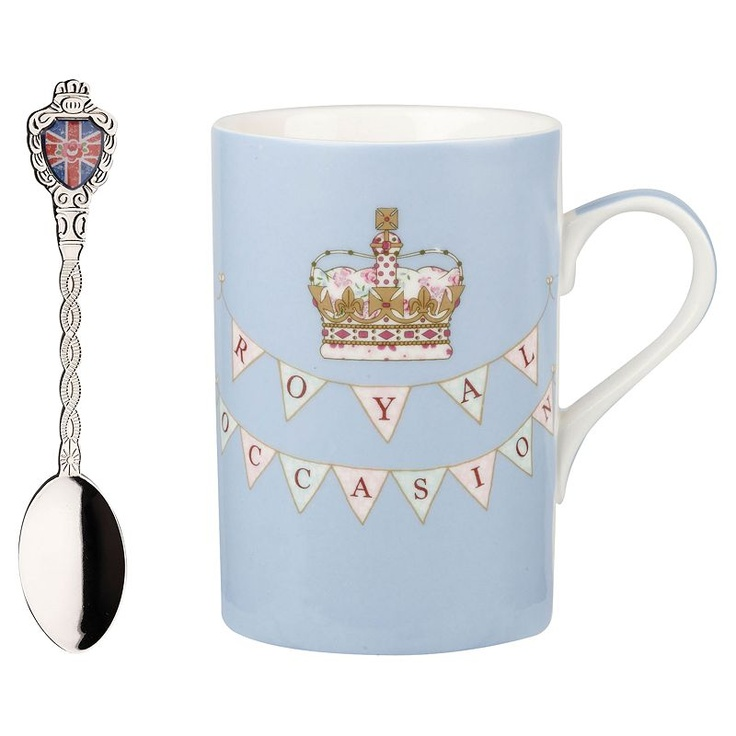 Buy Queens by Churchill Royal Occasion Mug and Spoon Sets, Blue online at JohnLewis.com - John Lewis