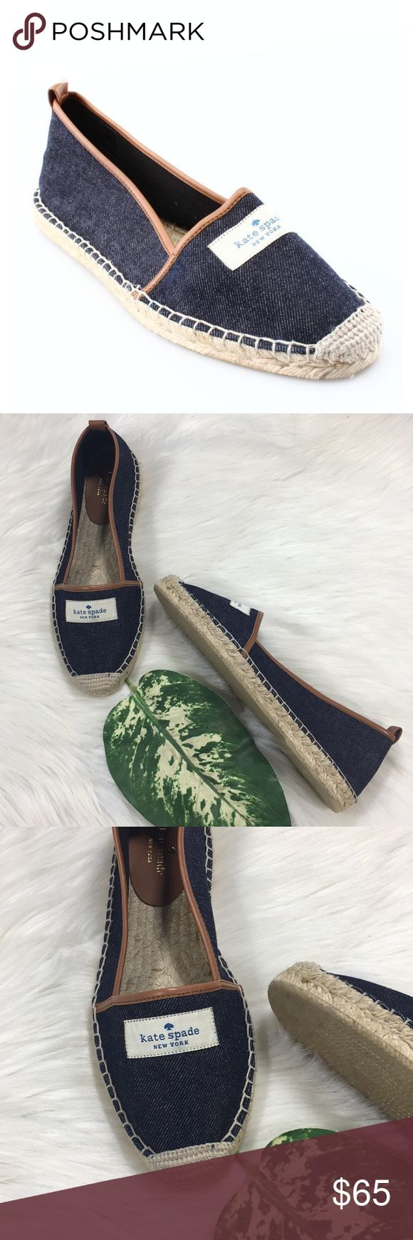 Kate Spade Denim Signature Loafers In new without box condition! Super cute and rare! Size 8. Selling super cheap because the glue on the inside of the shoe (pictured). They were a gift and turned like that from being stored out of the box. Otherwise they are new and in perfect condition. Have only been tried on indoors on rug. kate spade Shoes Espadrilles