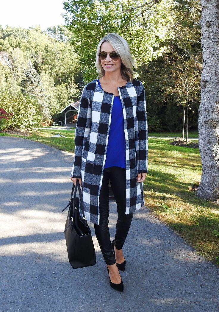 Fall outfit, plaid coat, leather leggings, black pumps, Tory Burch bag, tiaras and heels blog