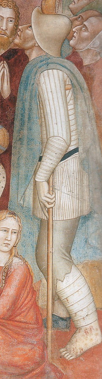 I love this wounded soldier and his padded garment. Note the quilting follows the line of naturanl movement and the thinner tighter lines of the fauld even showing gores although they do not follow the lines of movement. South wall. Pligrims seeking to be Healed at the Shrine of St Peter the Martyr. by Andrea di Bonauyto 1366-67 Florence, Santa Maria Novella.