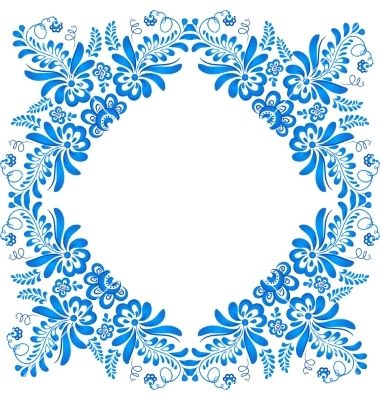 Blue ornamental floral frame in gzhel style vector