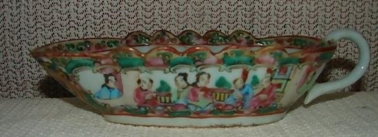 """Price : $225.00  Circa 1900 Chinese Export Rose Medallion Sauce or Gravy Boat. It has the """"china"""" mark on the base so that dates it after 1891. It measures 7"""" from spout to handle."""