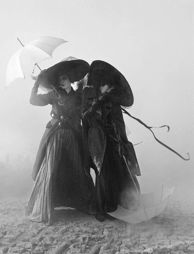 "Christina Carey and Jamie Bochert in ""Rebel Riders"" by Tim Walker for Vogue Italia December 2015"