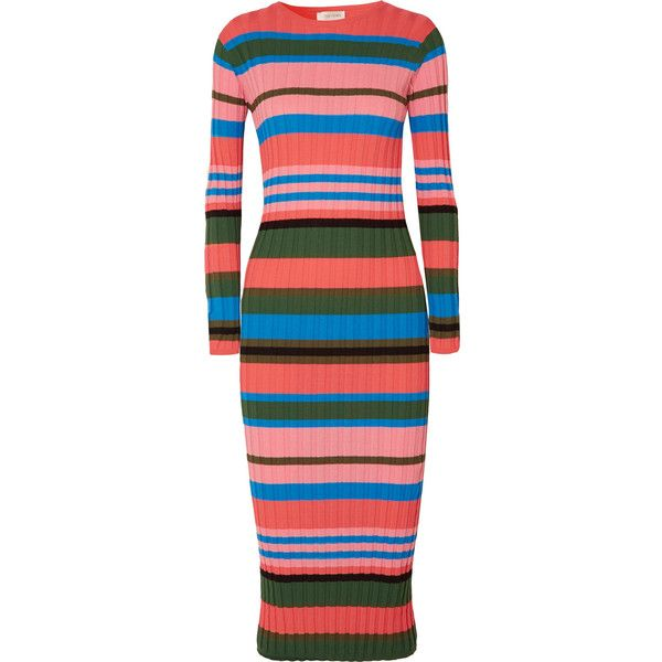 Stine Goya Jeanne striped ribbed-knit midi dress ($270) ❤ liked on Polyvore featuring dresses, pink, form fitting dresses, slip on dress, pink striped dress, striped dress and embellished midi dress
