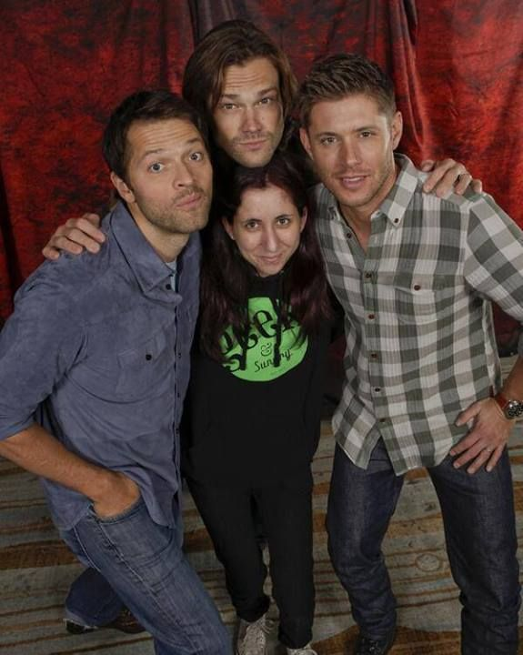 Kristi S. with the boys of Supernatural. Obviously, her awesome hoodie is what's attracting them! Grab yours for $44.99