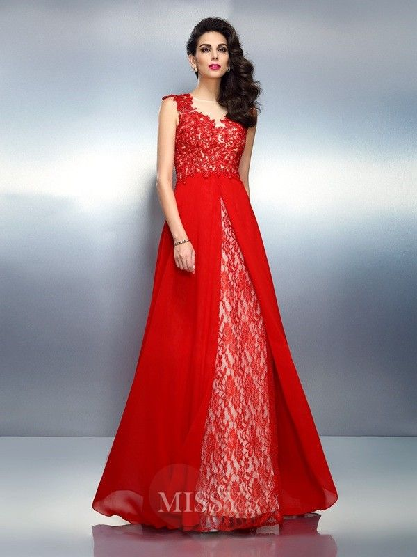 Princess-Linie Bateau-Ausschnitt Ärmellos Applikationen Pinsel zug Netz Kleid
