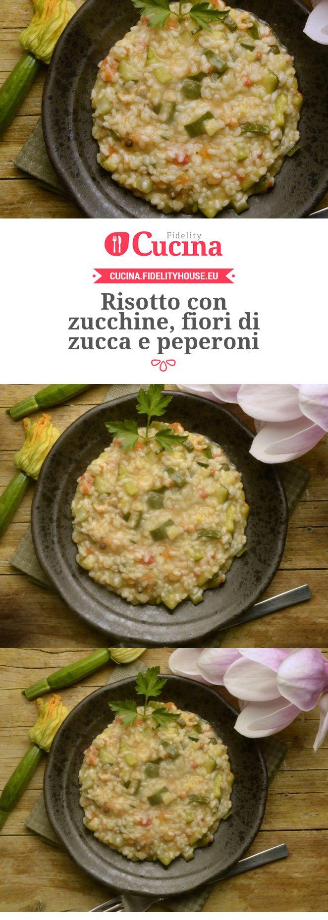 #Risotto con #zucchine, fiori di zucca e #peperoni