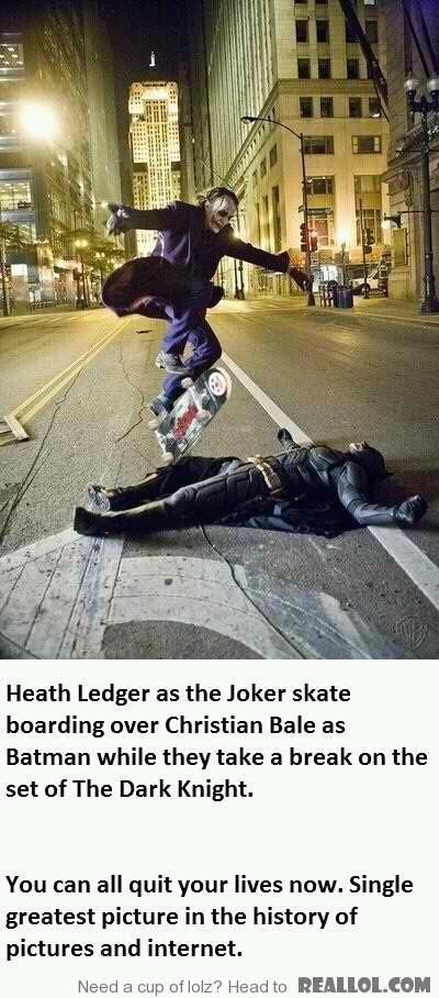 Heath Ledger and Christian Bale take a break