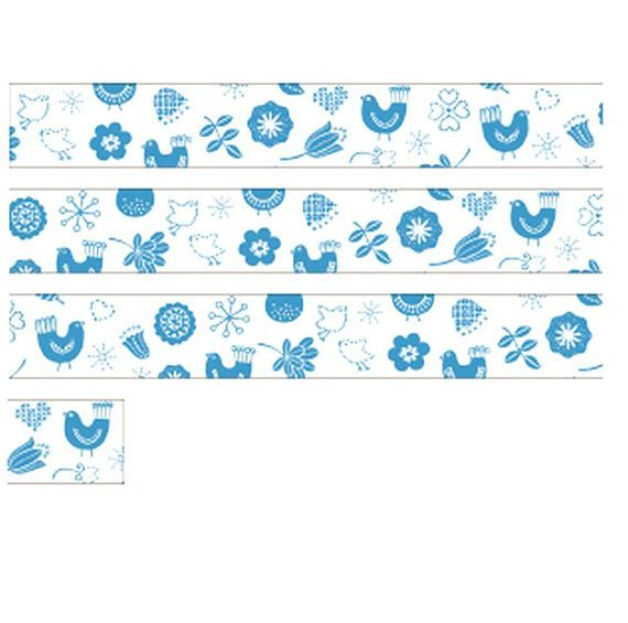 Simple Blue Bird Washi Tape, Almedahls, Bullet Journal Washi, Japanese Style Zakka, Nordic Flower / Leaf, Card Decoration, Hobonichi Planner, JapanLovelyCrafts