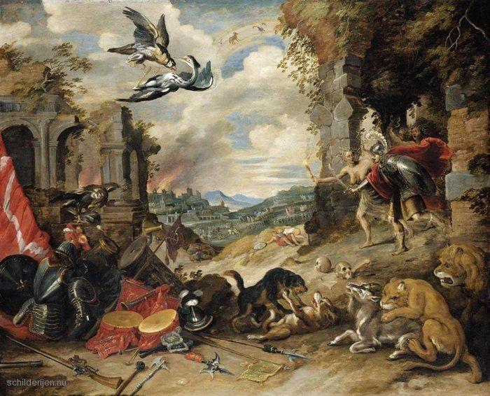 """Painting """"Allegorie van de oorlog"""" by Jan Brueghel (de Jonge) - www.schilderijen.nu"""