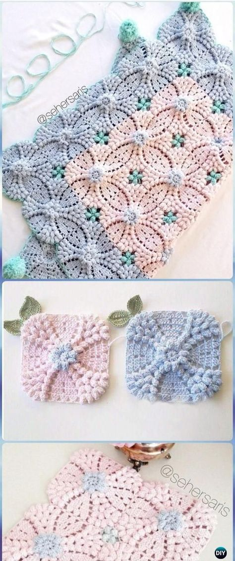Crochet Pearl Flower Popcorn Square Motif Free Patterns [Video] | So pretty!