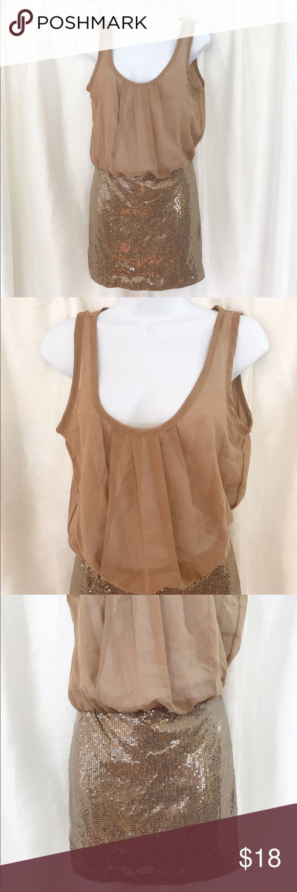 """Sheer Sequin Mini Dress sz M Sheer Top and sequin skirt. Slit opening in the back. Toffee/light brown color. Elastic waist. Length is 31"""" size M Dresses Mini"""