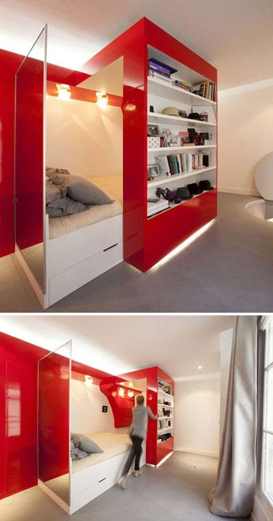 38 Smart Small Bedroom Designs with Hidden Bed. It looks cool, but thinking of the cost makes me nervous.