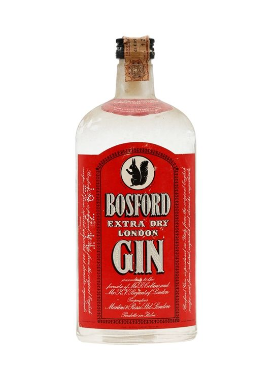 A squirrel clad litre bottle of Bosford Extra Dry London Gin, distilled (despite the name) in Italy for Martini and Rossi sometime in the 1970s. Please note: this bottle contains sediment.