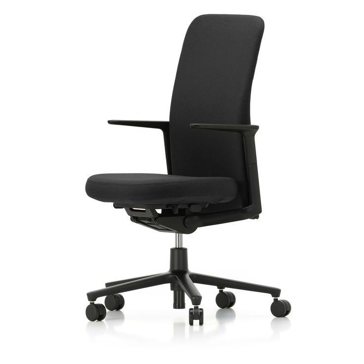 Vitra - Pacific Chair hoch, Armlehnen verstellbar, Fünfstern-Gestell schwarz, Rollen Teppichboden, Sitz und Rücken schwarz / nero (Plano) Schwarz T:46 H:108 B:57