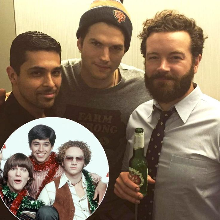 """The boys are back in town! Wilmer Valderrama (Fez), Ashton Kutcher (Michael Kelso) and Danny Masterson (Steven Hyde) came together for a long awaited """"That 70s Show"""" reunion only missing the fourth guy of the crew Topher Grace (Eric Forman). It's unclear what brought the bunch together but it looks like they were sure enjoying each other's company and had much to catch up on. Kutcher share this photo with the caption """"fam"""" as Wilmer share a similar photo of the trio on Dec. 12, 2015."""