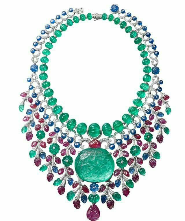 @cartier #tuttifrutti necklace, white gold, Mughal emerlads, sapphires and rubies. #amazeballs #swoontastic