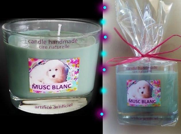 "Bougie candle parfumée "" musc blanc "" cire naturelle de soja  handmade"