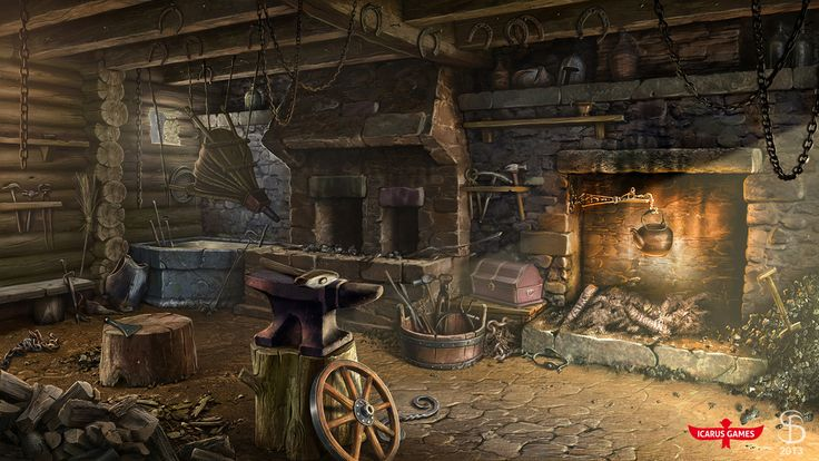 https://www.artstation.com/artwork/g5wd8 smithy. art for hidden object game by Icarus Games  http://www.icarusgames.com/ #MattePainting #Environments #GameArt #SeryogaBiryukov #HiddenObjectGame #MiddleAges #Smithy #BlackSmithShop #DigitalPainting #Europe #Photorealistic #Interior