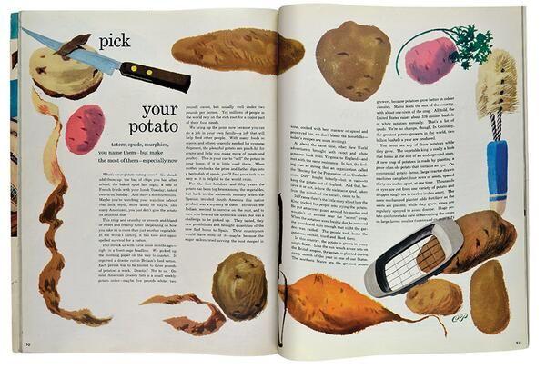"Potato instructions (""taters, spuds, murphies"") by Cipe Pineles 1948 via @thinkstudionyc"