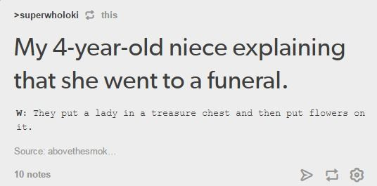 I actually really like the child's perception of the funeral protocol. It's quite beautiful.