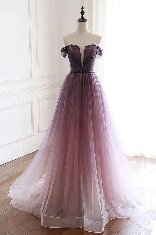 Unique Gradient Purple Tulle Long Prom Dress, Off Shoulder Evening Dress