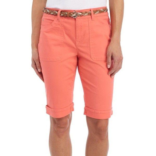 Gloria Vanderbilt  Rachel Belted Bermuda Twill Short (€38) ❤ liked on Polyvore featuring shorts, bright hibiscus, braided belts, summer shorts, twill shorts, lightweight shorts and belted shorts